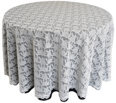 """108"""" Round Lace Table Overlay - Ivory 90802(1pc/pk)"""