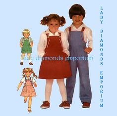 A) Simplicity 6228 Boys & Girls Bib Overalls Shortalls Jumper Romper Sundress Shirt Top Blouse size 3 Vintage 80's Sewing Pattern #303 by ladydiamond46 on Etsy