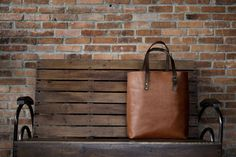 Tall Tote in Fox with Rust Handles