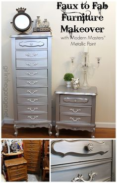 See how an 80's faux-wood French Provincial-style furniture set was glammed up with Modern Masters Metallic Paint. girlinthegarage.net #bestofDIY