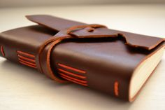 Leather Journal Sketchbook with blank pages by absolutelyevo