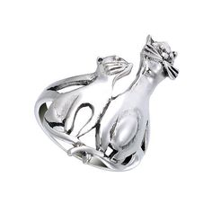 Cat and Kitten Sterling Silver Ring