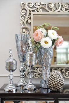 Silver Bathroom Wall Decor Home Add Shiny Luxurious Objects On Display Up Scaled And Dramatic Mirror Vase Jar To