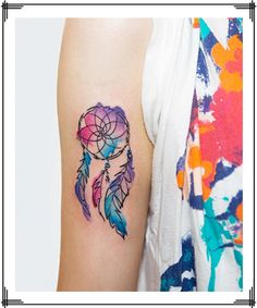 Watercolor Dream Catcher Feather Tattoo