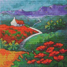 Cross stitch modern art by Gillian Mowbray 'Poppy Cottage' cross stitch kit @ Modstitch.co.nz