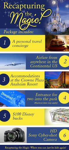 Win a trip to Disneyland for two, plus airfare, hotel accomodations, Disney bucks, and Sony CyberShot Camera at SixSistersStuff.com.