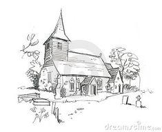 church-pencil-sketch-13463316.jpg (400×327)