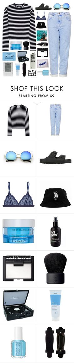 """""""just go with the flowwwww"""" by tsunami-wxves ❤ liked on Polyvore featuring T By Alexander Wang, Topshop, Birkenstock, Cosabella, Oakley, Givenchy, NARS Cosmetics, CASSETTE, Aveda and Essie"""