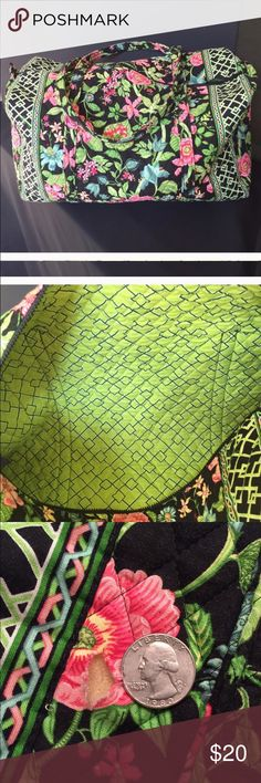 "Vera Bradley Lg. duffel bag retired Botanica print Vera Bradley large duffel in retired Botanica print. 22x11 1/2x11 1/2"" Good used condition except for a small hole in the bottom of the bag.  (See pic) From a smoke-free, per-free home. Vera Bradley Bags Travel Bags"