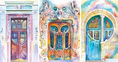 """Travels The World Painting Doors In Watercolor, Ukrainian Artist Travels The World Painting Doors In Watercolor, Ukrainian Artist Travels The World Painting Doors In Watercolor, Gorgeous purple and turquoise door - """"I went a bit crazy with the lomo"""" Red Houses, Painting Tile Floors, Black And White Canvas, Diy Art Projects, Painted Doors, Female Art, Art Lessons, Watercolor Paintings, Watercolor Water"""