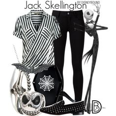 Jack Skellington by leslieakay on Polyvore featuring polyvore, fashion, style, Patrizia Pepe, Paige Denim, Communication Love, Rachel Entwistle, DB Designs, disney, disneybound and disneycharacter