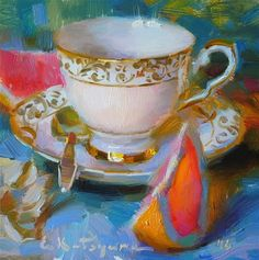 "Daily Paintworks - ""Teacup and Grapefruit Slices"" - Original Fine Art for Sale - © Elena Katsyura"