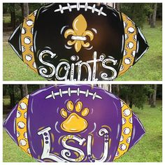 Reversible Football Door Hanger Saints LSU Who Dat New