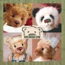 New Avenue Crew teddy bears: Juniper, Ha Lee, Herr Gruenhosen, and Geneva, made from Schulte mohair and alpaca