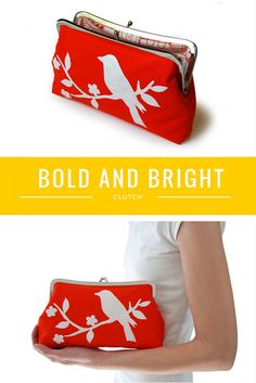 I love the bright colors on this handmade clutch purse from jenniferladd.com -- perfect for summer!