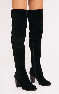 2fc8a289376 Keyra Black Faux Suede Over The Knee Boot Thigh High Boots Heels