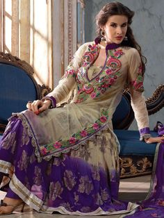 Deep Fawn and Light #Purple Net Churidar #Kameez @ $88.65 | Shop Here: http://www.utsavfashion.com/store/sarees-large.aspx?icode=slkhs130