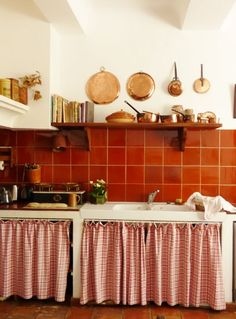 interior french kitchen with copper