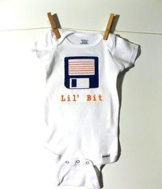Computer Nerdy Baby Bodysuit. Floppy Disk Lil Bit, IT geek baby gift, funny, old school infant, Baby Genius, Dorky Shower gift, Nerd Swag