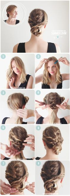 French and fishtail braids with bun