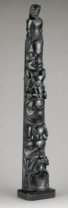 Model Pole, c. 1890. (Argillite) | by Charles Edenshaw | photo © The Metropolitan Museum of Art.