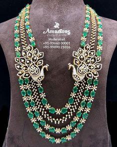 Emerald Diamond Necklace from Amarsons Pearls and Jewels . Whatsapp on : Emerald Jewelry, Gold Jewelry, Diamond Jewelry, Emerald Necklace, Antique Jewellery, Bridal Jewelry, Jewelry Gifts, Diamond Pendant Necklace, Diamond Necklaces