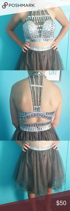 Grey two piece homecoming dress Grey two piece homecoming dress. Top has silver embellishments. unknown Dresses Strapless