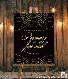 Great Gatsby Wedding Welcome Sign / String Light Bokeh Gold Fairy Lights, Black and Gold Art Deco ▷ Canvas, Paper, Board or Printable - wedding details Great Gatsby Motto, Great Gatsby Theme, Great Gatsby Wedding, 1920s Wedding, Art Deco Wedding, Wedding Shot, Gatsby Party, Tent Wedding, Gothic Wedding