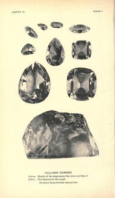 The rough diamond and 9 principle stones of the Cullinan Diamond!
