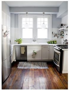Perfect small kitchen for the 1700s house. Leah Shirey's makeover was featured in the July-August issue of Country Living magazine, This is the after. Houseobsession.wordpress.com