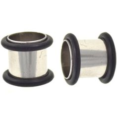 """BodyDazz.com - Steel Tube Tunnels Plugs with Black O-rings (10g-5/8"""")"""