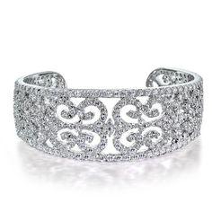 Art Deco Style CZ Diamond Bridal Cuff Bangle Bracelet