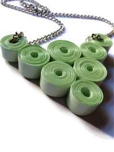 Mint Green Chunky Necklace #PaperBeads #Pastel