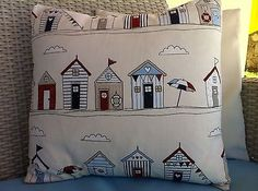"New fryetts blue #beach huts #seaside fabric scatter #cushion covers 16"",  View more on the LINK: 	http://www.zeppy.io/product/gb/2/152313432072/"