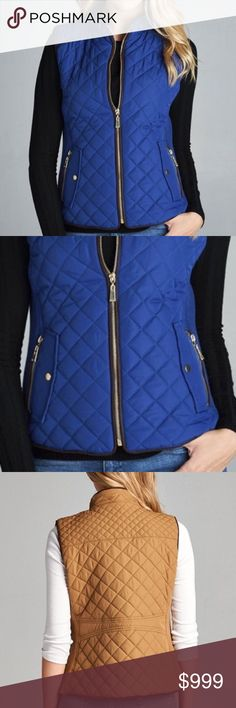 🔜 Quilted Vest - Blue Super comfy vest! An absolute MUST-HAVE & best seller for fall 🍁 Padded. True to size with plenty of stretch! S = 2/4. M = 6/8. L = 10/12. 100% Polyester. No. trades. Other colors available in my closet. Last photo is to show the back. Like this to be notified of its arrival! Price will be $59. Kyoot Klothing Jackets & Coats Vests