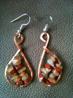 Two tone copper and silver wire  Red Aventurine and Red Jasper gemstone earrings by BLLstudio