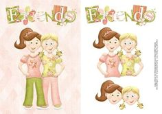 Friends Topper Decoupage on Craftsuprint designed by Toni Martin - Card front / topper featuring two female friends. Includes decoupage layers. - Now available for download!