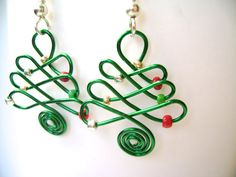 Celtic Christmas Tree Earrings by BohemianBeading on Etsy, $10.00