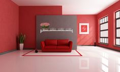 Living Room, Red Accent Wall Also Red Leather Loveseat Plus Polished White Floor Besides Red Picture Frame And Corner Plant With Black Glass Windows White Ceiling Wall: 8 Best Living Room Color Pattern Ideas Red Leather Loveseat, Colorful Interior Design, Removable Wall Art, White Floors, Paint Colors For Living Room, White Ceiling, Red Accent Wall, Living Room Color Inspiration, Red Picture Frames