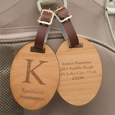 11937 - Classic Monogram Personalized Wood Bag Tag