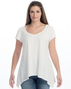 Βαμβακερή μπλούζα με V-λαιμόκοψη — mat. XXL sizes