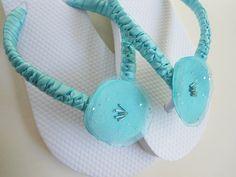 Tiffany blue bridal flip flops by Adriana dos Santos