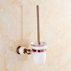 JinRou Unique character design Continental rose gold copper natural jade marble toilet brush holder Cup holder  white >>> Click image for more details.