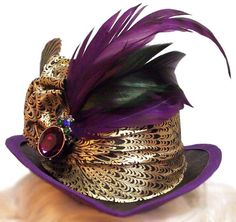 Mardi Gras Jewel Mini Victorian Steampunk Tea Party Fascinator Cocktail Top Hat. $30.00, via Etsy.