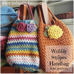 Wobbly Stripes Handbag - Free Pattern | Tw-In Stitches