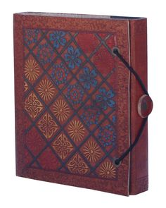 "Bulk Wholesale 5x5.5"" Inch Handmade Writing Journal / Notebook in Brown Color with Colorful & Embossed Leather Cover – Secured by a Thread & Button Closure – Ethnic Scrapbooks / Travel Diaries"