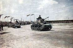 Latvian Army Vickers column of tanks on parade in Riga November 17, 1938 In the foreground machine, armed with 40-mm cannon