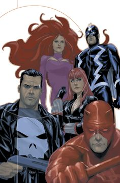 Medusa, Blackbolt, Black Widow, Punisher and Daredevil ~ art by Phil Noto