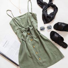 Coventry Dress - Khaki , Aida Sandal - Black Satin, Star Necklace - Gold, Square Sunglasses - Black, Black spotty scarf 2