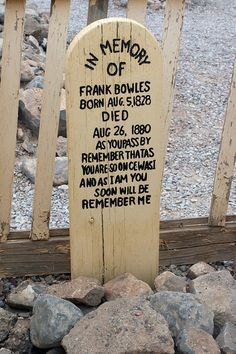 Marker for Frank Bowles at Boothill Graveyard in Tombstone, Arizona Cemetery Monuments, Cemetery Headstones, Cemetery Art, Old West Outlaws, Tombstone Arizona, Famous Graves, After Life, Old Stone, Wild West